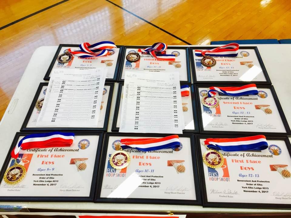 2017 Hoop Shoot - Medals and Certificates