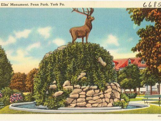 Postcard memorializing the York Lodge #213 Elk in Penn Park 1898.
