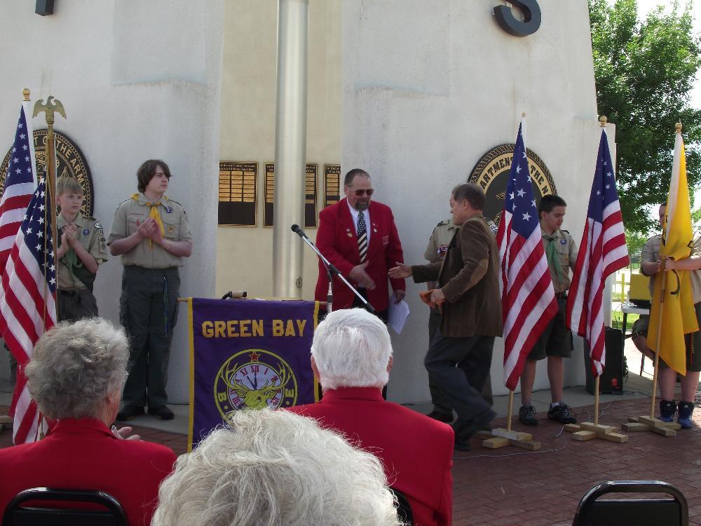 State Senator Robert Cowles and George Harper Exalted Ruler Green Bay Lodge 259 Flag Day 2014