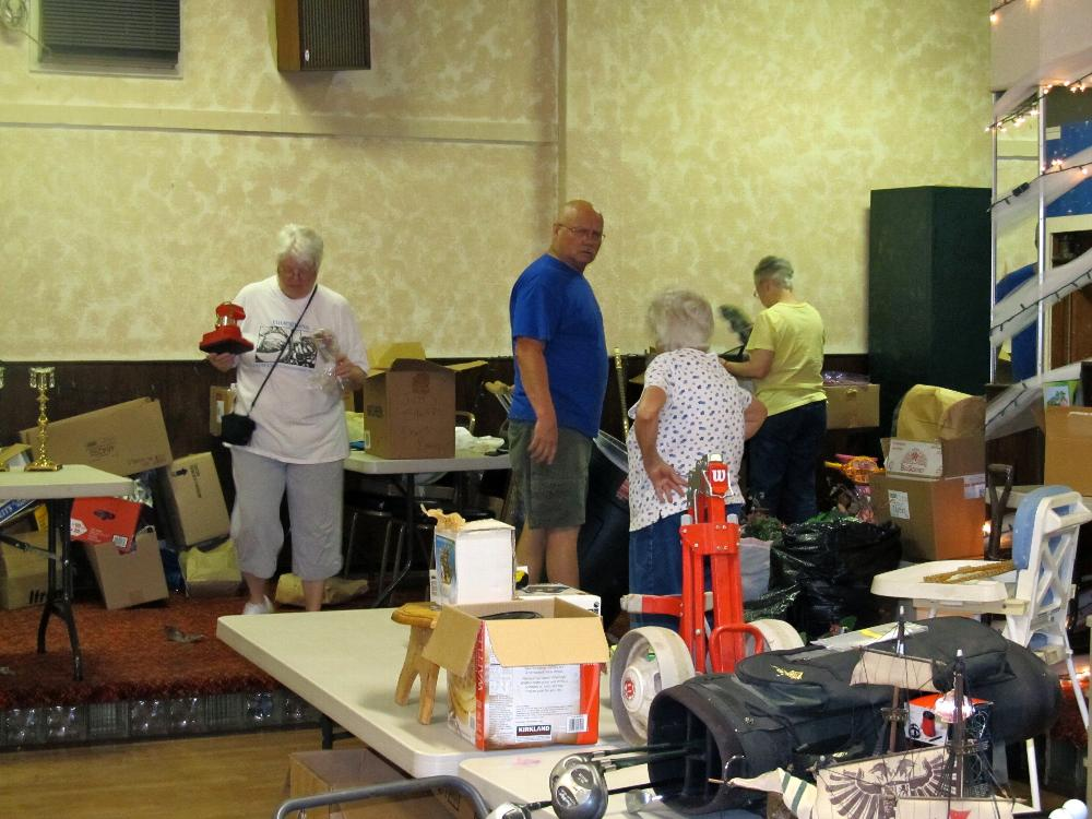 Setting up for Elkette rummage sale