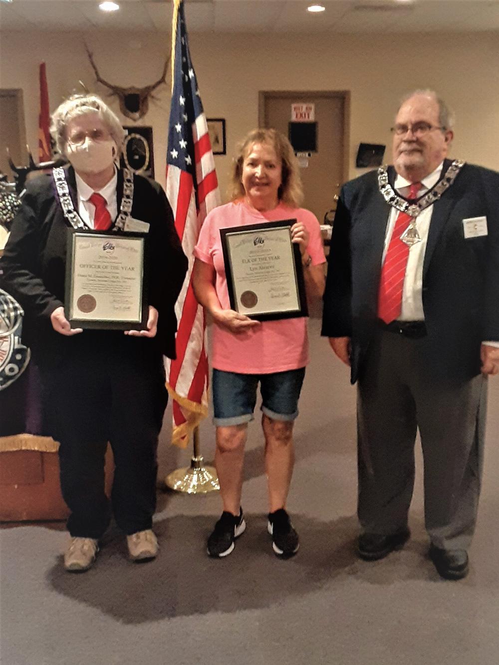 L-R: 2019-2020 Lodge Officer of the Year, Treasurer D. Gnuschke, Elk of the Tear, L. Alvarez, PER, J. Riley