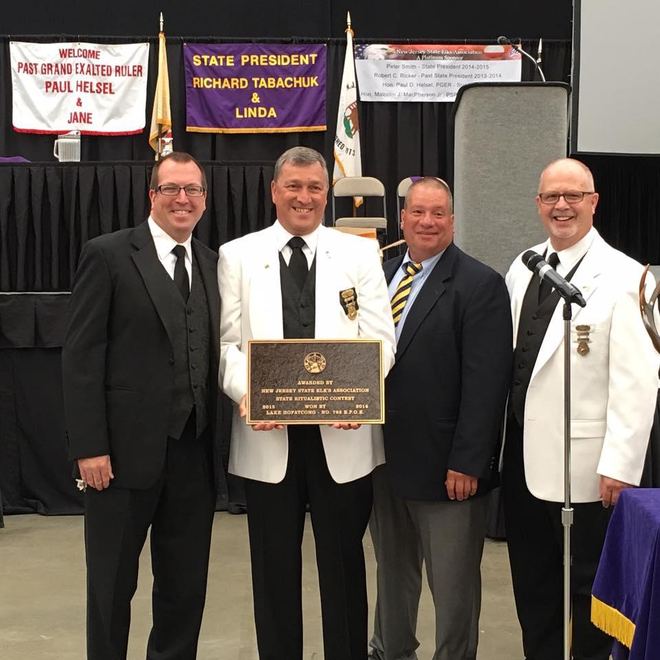 PER Matt Winnans and Ritual Coach Bob Ricker, PSP accepts the NJ State Ritual Championship Plaque from State Ritual Chairman Bob Wittaker and Roy DeRitter, PSP - 2016