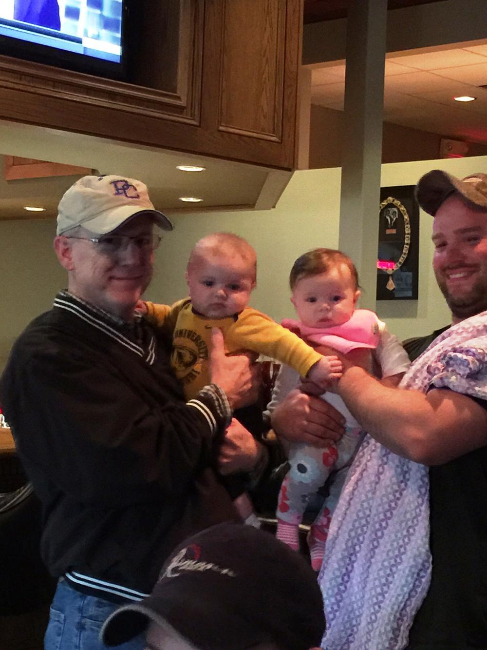 Elks Babies at the Lodge.  ER Steven Harvey with Jackson Stone, Avery Mae Lehman (ER Harvey's Grand Daughter) & Lary Lehman