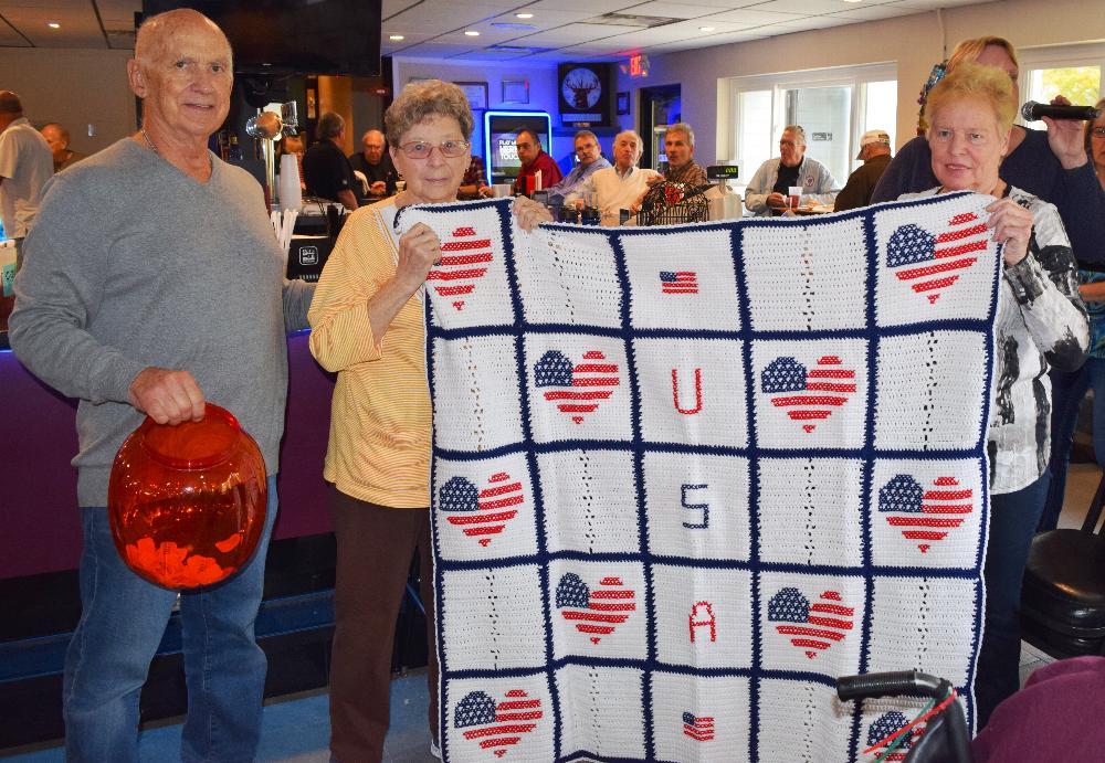 Prize blanket for Veteran's luncheon