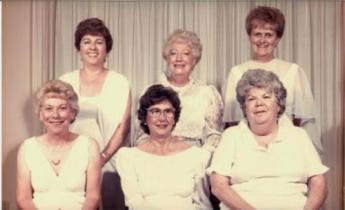 Sebastian Elks Lodge #2714 Charter El-Does Officers May 1986 Laura Walker, Virginia Ward, Kay Cooper, Jean Rowley, Jean Heitzman, Rosemary Hutchinson